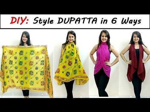 DIY: Style Dupatta in 6 Different Ways | Stylish top, shrug, kimono | Shirin Talwar