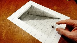 Mixed Reality Illusion - Drawing 3D Tunnel - Trick Art  On Lined Paper By Vamos