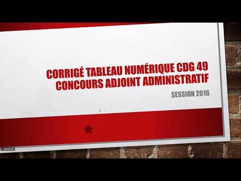 75cf4a70e05 Corrigé de l épreuve de tableau numérique du concours d adjoint  administratif territorial du