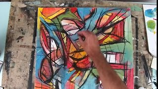 Be Bold ! Creating A Dynamic Abstract Painting On Canvas With Acrylic And Charcoal