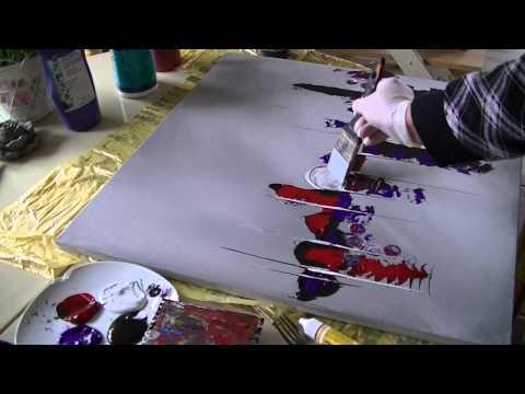 acrylmalerei abstract acrylic painting demo abstraktes bild malen spachteln spackle zeichnen. Black Bedroom Furniture Sets. Home Design Ideas