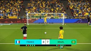 FRANCE vs BRAZIL | Penalty Shootout | Mbappe vs Neymar Jr | PES 2018 Gameplay PC