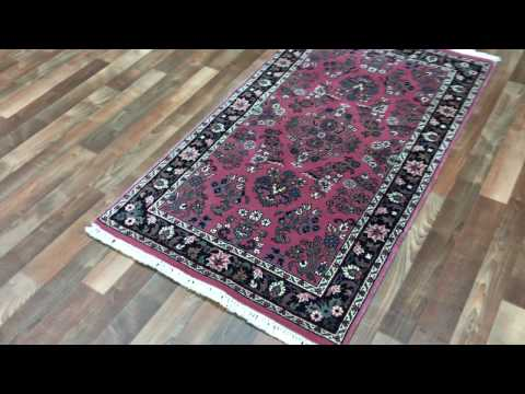 Pink and Black Fine Sarouk Oriental Small Area Rug 3'X5'2 - AT 1258