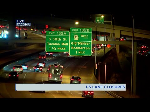 Lane, ramp closures begin at I-5/SR-16 interchange in Tacoma