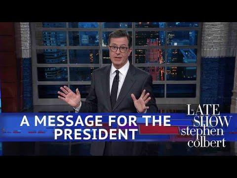Stephen Unbuttons Trump's Button Brag