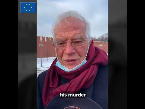 HR/VP Borrell visits assassination site of Boris Nemtsov, Moscow, February 2021