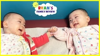 Twin babies talking to each other and holding hands! Babies laughing with Ryan