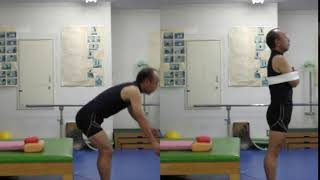 立ち上がり動作比較(腕をフリー:腕を縛った状態)〜足が離れた普通の速度