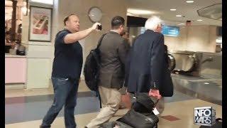 Alex Jones Harasses Bernie Sanders At LAX & Then Gets Schooled By Random Dude