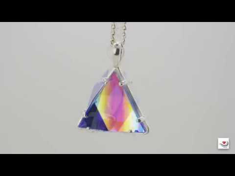 Vogel Crystal Star of David Pendant in Clear Quartz, Rainbow Dichroic Glass & Siberian Blue Quartz,