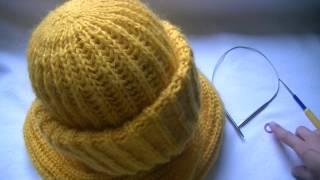Вязание шапки английской резинкой.Knitting hats British gum