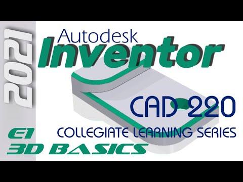 E1 Autodesk Inventor 2021 - Basics Tutorial for Beginners w/Training Guide
