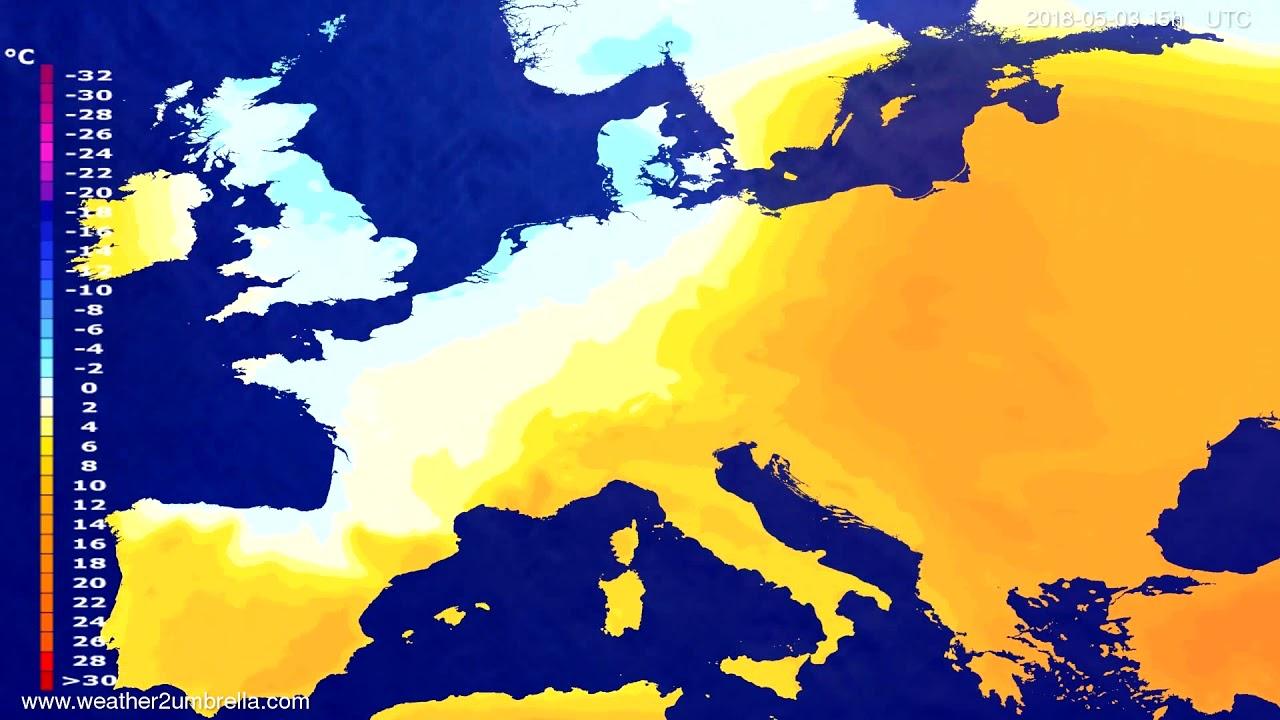 Temperature forecast Europe 2018-04-30