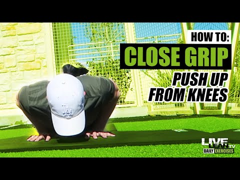How To Do A CLOSE GRIP PUSH UP ON KNEES | Exercise Demonstration Video and Guide