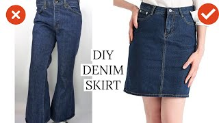 DIY Convert Old Jeans Into Skirt In Just 6 MINUTES | Jeans To Skirt |