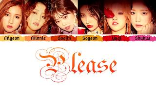 (G)I-DLE (여자아이들) - 'PLEASE' (주세요) (Color Coded Lyrics Eng/Rom/Han/가사)