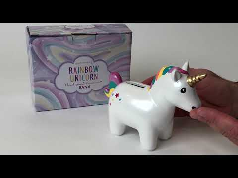 Youtube Video for Rainbow Unicorn - Ceramic Money Bank