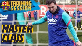 ? MESSI is RELENTLESS in training match ?