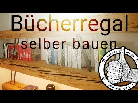 Regal selber bauen Bücherregal aus alten Balken mit Phillips Hue Leselampe und Sprachsteuerung