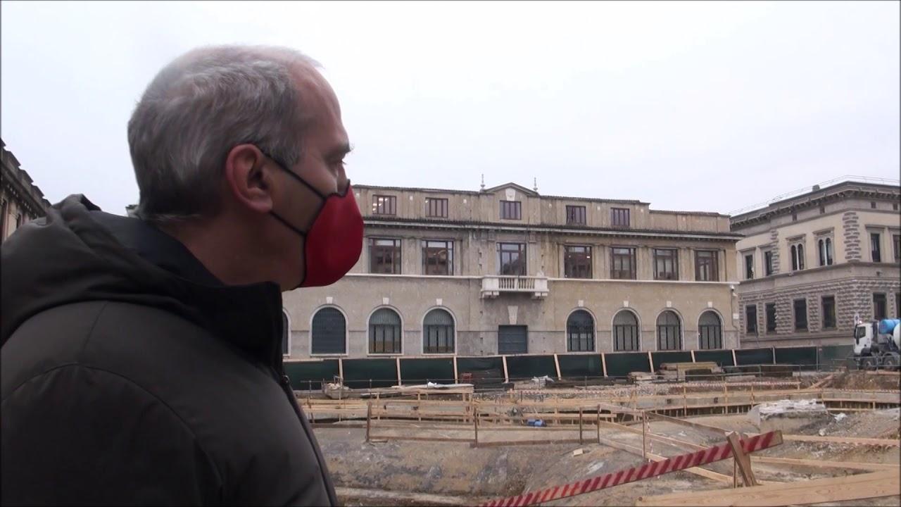 Nel cantiere di piazza Dante a Bergamo: primo lotto del centro piacentiniano