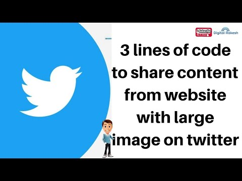 3 lines of code to share content from website with large image on twitter