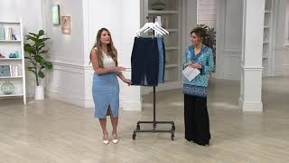 Du Jour Denim Skirt W/ Asymmetrical Seaming Detail On QVC