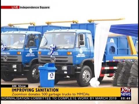 Zoomlion Donates 500 Garbage Trucks To MMDAs - AM Show on JoyNews (31-8-18)