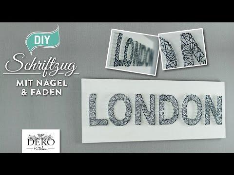 Deko Schriftzug aus Faden - 3D Wandbild aus Nägeln und Schnur