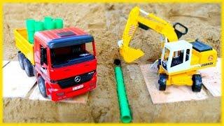 Vidéo pour enfants de voitures de construction. Répartition de la route