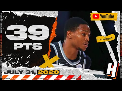 De'Aaron Fox CAREER-HIGH 39 Points Full Highlights | Kings vs Spurs | July 31, 2020