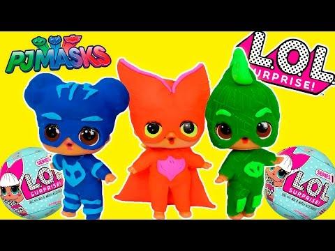 ❤ MUÑECAS LOL ❤ Disfraz de los bebés PJ Masks Gatuno Gekko Buhita | Muñecas LOL Sorpresas
