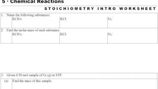 GC 5.2 Stoichiometry Intro Worksheet
