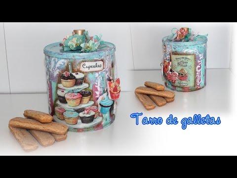 tutorial decoupage, shabby chic, bote de galletas