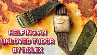 HELPING AN UNLOVED Rolex Tudor 1940s. Restoration dial cleaning crystal scratch removal Tutorial