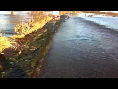 Hoogwater van de Maas in Sambeek - Maasstraat