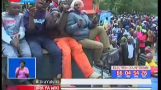 Rais Uhuru akiandamana na naibu William Ruto watembelea wakaazi wa Nyandarua wakiuza sera za Jubilee