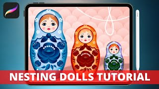 How To Draw A Matryoshka (Russian Nesting Doll) on the iPad // Easy Procreate Drawing Tutorial