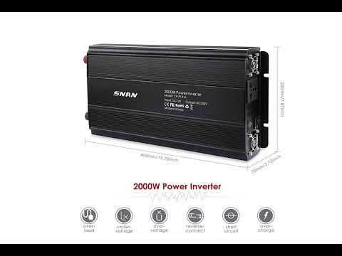 Review SNAN 2000W Spannungswandler Wechselrichter DC 12V auf AC 230V mit Universal AC Buchse