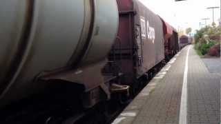 preview picture of video 'Slow Goods passes through train Holzwickede Train Station Germany'