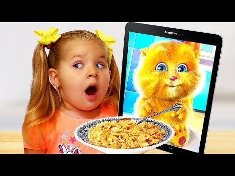 Download Diana and Funny Cat eats Breakfast and Plays Mp4 HD Video and MP3