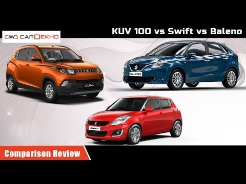 Maruti Swift vs Mahindra KUV 100 vs Maruti Baleno | Comparison Review | CarDekho.com