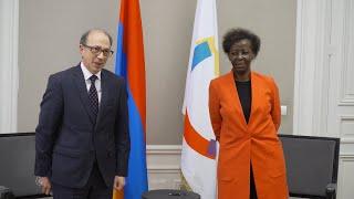 Министр иностранных дел Республики Армения Ара Айвазян встретился с Генеральным секретарем Франкофонии Луиз Мушикивабо