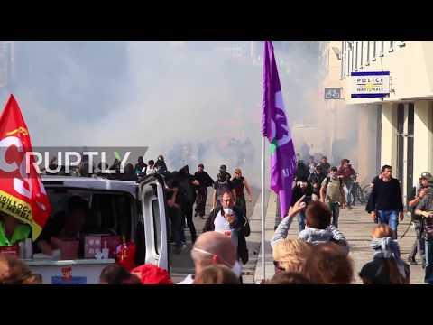 France: Tear gas clouds Nantes as thousands march against labour reforms