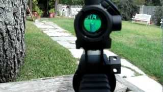Bushnell TRS-25 Micro Red Dot sight with lower 1/3 co-witness mounted on an AR-15
