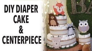 DIY Diaper Cake & Diaper Centerpiece | Woodland Baby Shower Pt. 3