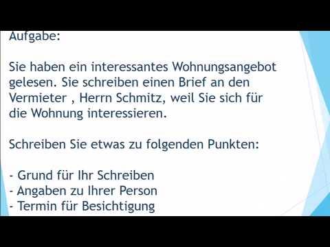 Neue Wohnung Mieten Brief Schreiben Zur Prüfung B1 Deutsch Lernen