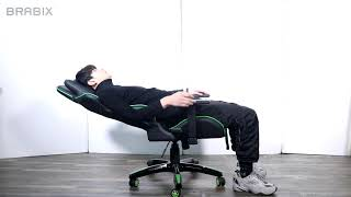 Кресло компьютерное BRABIX &laquo;GT Carbon GM-120&raquo;, две подушки, экокожа, черное/<wbr/>зеленое, 531929