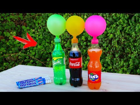 EXPERIMENT: Mentos with Balloons and Coke, Fanta, Sprite