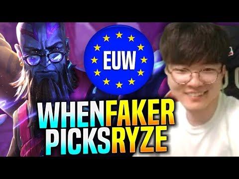 WHEN FAKER PICKS RYZE IN EUW SOLOQ! - SKT T1 Faker Plays Ryze vs Qiyana Mid!   Faker EUW Bootcamp