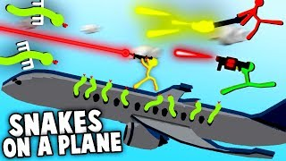 SNAKES on a PLANE!  Stick Fight NEW MAPS & Crazy Weapons (Stick Fight Multiplayer Gameplay)
